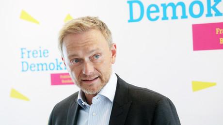 FDP-Chef Christian Lindner bei einem Treffen mit FDP-Bundestagsabgeordneten am 4. September 2019 in Jena, Thüringen.