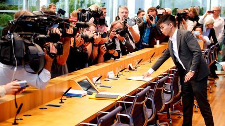 Der Hongkong-Aktivist Joshua Wong bei einer Pressekonferenz, Berlin, Deutschland, 11. September 2019.