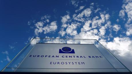Schild des EZB-Hauptquartiers in Frankfurt am Main, Deutschland, 7. März 2019.