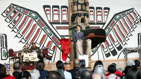 Premierminister Justin Trudeau hält eine Rede anlässlich der Veröffentlichung des Berichts über die Morde an indigenen Frauen und Kinder (Quebec, 3. Juni 2019)