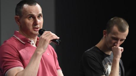 Oleg Senzow (links) und Alexander Koltschenko bei der Pressekonferenz am