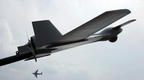 Ein unbemanntes Kampfflugzeug (UCAV) Modell Harop. Die Drohne wird von Israel Aerospace Industries (IAI) hergestellt. (Symbolbild)