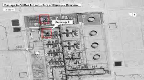 Ein Satellitenbild, das Schäden an der Öl-/Gasinfrastruktur von Saudi-Aramco in Khurais, in Saudi-Arabien, in diesem von der US-Regierung am 15. September 2019 veröffentlichten Handout-Bild zeigen soll.