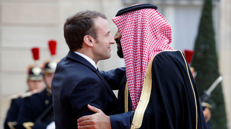 Der französische Präsident Emmanuel Macron mit dem saudischen Kronprinzen Mohammed bin Salman, Paris, Frankreich, 10. April 2018