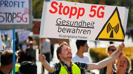 Proteste gegen 5G in Berlin, Deutschland, 22. September 2019