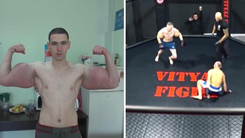 """Kampftauglich? Nach Schlagzeilen wegen aufgepumpten Ballonarmen  - """"Russischer Popeye"""" bei MMA-Kampf"""
