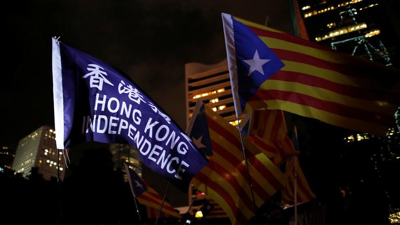 Demonstranten in Hongkong und Katalonien bekunden gegenseitige Solidarität