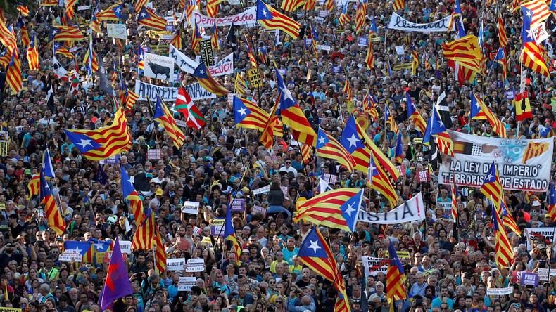 Live: Barcelona – Demo zur Unterstützung inhaftierter katalanischer Anführer
