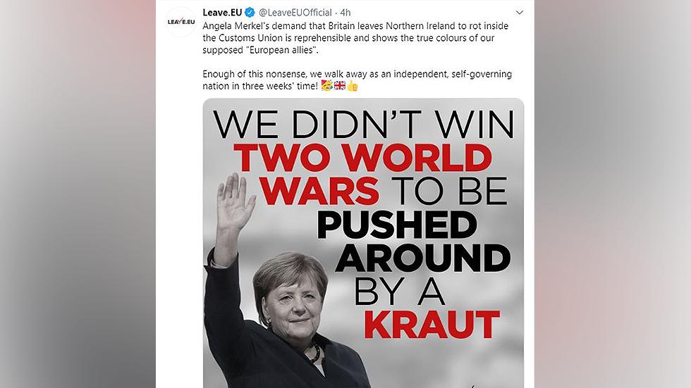 """Britische Brexit-Seite: """"Nicht zwei Weltkriege gewonnen, um von Deutschen herumgeschubst zu werden"""""""