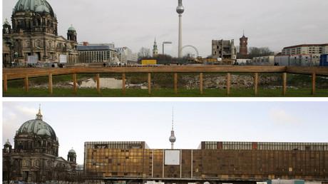 Überreste des Palasts der Republik am 26. November 2008 (oben) und Blick auf das Gebäude am 4. Januar 2006, Berlin, Deutschland.