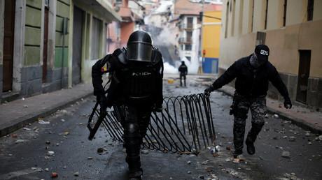 Polizisten in Quito, Ecuador, 3. Oktober 2019.