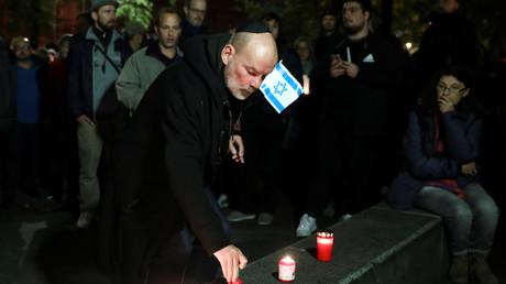 Gedenken der Opfer des Angriffs in Halle, Neue Synagoge in Berlin, Deutschland, 9. Oktober 2019.