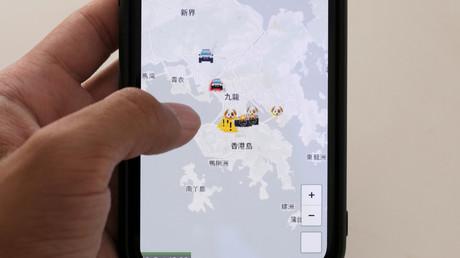 App HKmap.live auf einem Apple-Gerät, Hongkong, 10. Oktober 2019.