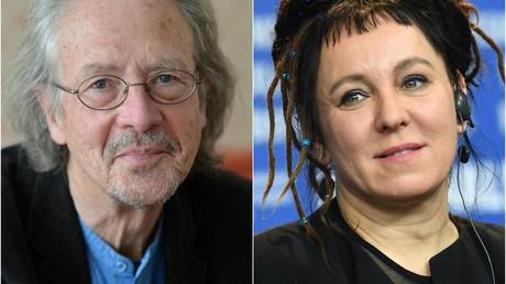 Jeweils um viel Ruhm und Ehre, sowie ungefähr 820.000 Euro reicher: Pater Handke und Olga Tokarczuk.