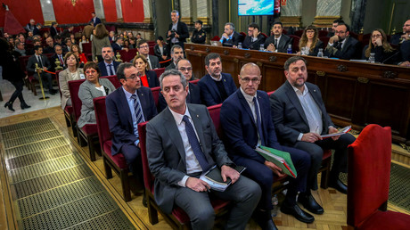 Katalanische Unabhängigkeitsbefürworter vor Gericht im Februar 2019