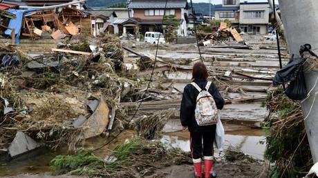 Nach dem Taifun: Ein Bild der Verwüstung in Nagano am Dienstag