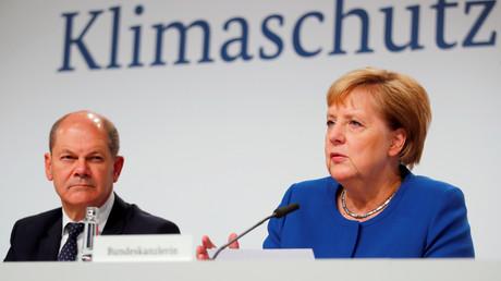 Der deutsche Finanzminister Olaf Scholz und Bundeskanzlerin Angela Merkel, Berlin, Deutschland, 20. September 2019.