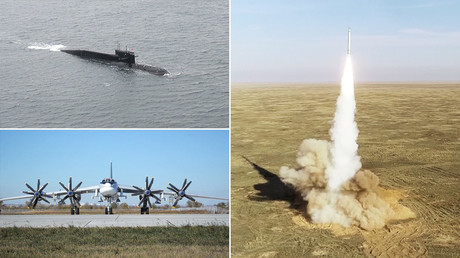Atomare Abschreckung: Putin leitet Raketenübung mit U-Booten, Bombern und Mobilrampen (Videos)