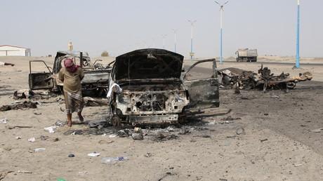 Laut dem jemenitischen Verteidigungsministerium sind die Vereinigten Arabischen Emirate (VAE) auch für zehn Luftangriffe verantwortlich, bei denen jüngst etwa 300 jemenitische Soldaten getötet und verletzt wurden, 30. August 2019.