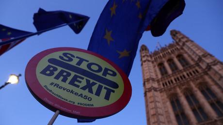 Anti Brexit-Proteste vor dem britischen Parlament, London, Großbritannien, 22. Oktober 2019.