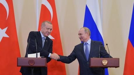 Der türkische Präsident Recep Tayyip Erdoğan und der russische Präsident Wladimir Putin, Sotschi, Russland, 22. Oktober 2019.