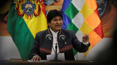 Evo Morales bei einer Pressekonferenz am Donnerstag in La Paz