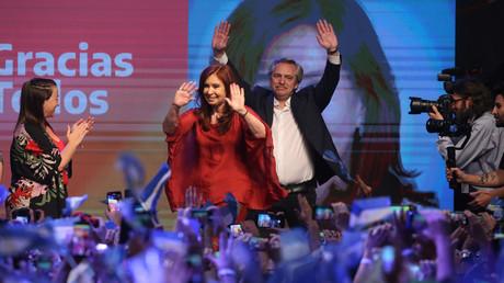 Jubeln über ihren Wahlsieg: Alberto Fernández und Cristina Fernández de Kirchner auf der Wahlparty in Buenos Aires.