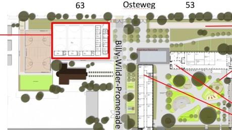 Plan mit der ursprünglich geplanten Sporthalle auf dem Grundstück Osteweg 63