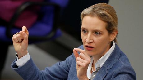 (Symbolbild). Was will uns Alice Weidel mit dieser Geste sagen? Das Bild wurde während einer Rede im Bundestag am 22. Februar 2018 aufgenommen.