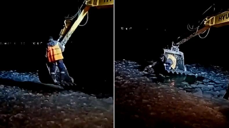 Tierischer Einsatz: Bauarbeiter retten in See gefallenen Streuner mit Bagger (Video)