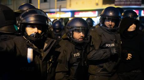 Polizisten in der Rigaer Straße im Oktober 2019