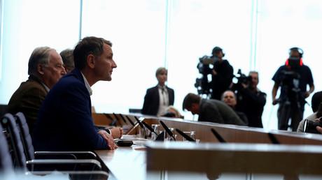 AfD-Spitzenkandidat Björn Höcke während einer Pressekonferenz nach der Wahl in Thüringen, Berlin, Deutschland, 28.Oktober 2019