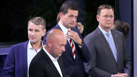 Die Top-Kandidaten der Thüringer Landtagswahl: Björn Höcke (AfD), Thomas Kemmerich (FDP), Mike Mohring (CDU), Bodo Ramelow (Die Linke), Erfurt, Deutschland, 27. Oktober 2019.
