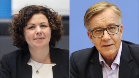 Amira Mohamed Ali (L) und Dietmar Bartsch (R), die neuen Fraktionsforsitzenden der Linkspartei im Bundestag.