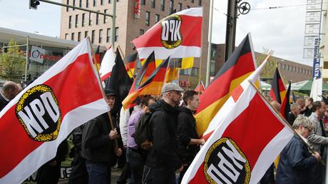 NPD-Demonstration am 1. Mai 2013 in Berlin, Deutschland.