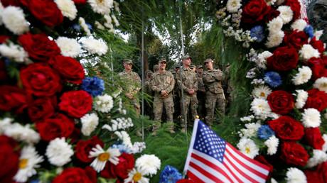 Symbolbild: US-Soldaten nehmen an einer Zeremonie zum Gedenken der Opfer der Anschläge vom 11. September teil, Kabul, Afghanistan, 11. September 2017.