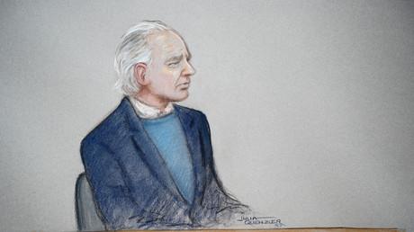 Eine Zeichnung, die den WikiLeaks-Gründer Julian Assange vor Gericht zeigt, London, Großbritannien, 21.Oktober 2019.