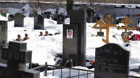 Das Grab des angeblich ermordeten Sergei Magnitski in Moskau.