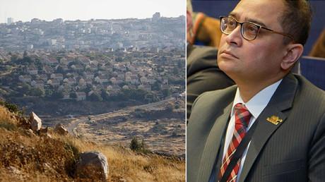 Links: israelische Siedlung im Westjordanland; rechts: der indische Generalkonsul in New York, Sandeep Chakravorty