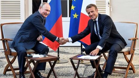 Putin und Macron im August während ihres Gipfeltreffens.