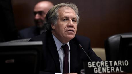 Luis Almagro, Generalsekretär der Organisation Amerikanischer Staaten (OAS), während der Sitzung des Ständigen Rates seiner Organisation zur Situation in Bolivien am 12. November 2019 in Washington