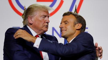 US-Präsident Donald Trump und der französische Präsident Emmanuel Macron auf dem G7-Gipfel in Biarritz, Frankreich, 26. August 2019.