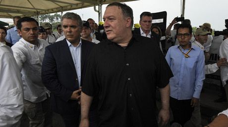 US-Außenminister Mike Pompeo und der kolumbianische Präsident Iván Duque besuchten am 14. April die Grenze zu Venezuela mitten während des versuchten Putsches von Juan Guaidó gegen Nicolás Maduro.