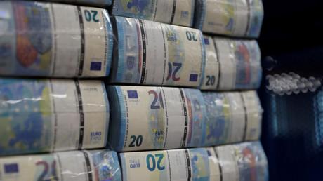 Verpackte 20-Euro-Banknoten im Hauptsitz des Unternehmens Money Service Austria in Wien, Österreich, am 16. November 2017