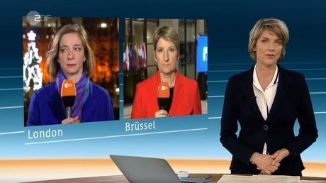 Die Begeisterung hält sich in Grenzen: Moderatorin Marietta Slomka mit den Korrespondentinnen in Berlin und Brüssel in der Sonderausgabe des heute-journals am späten Donnerstagabend