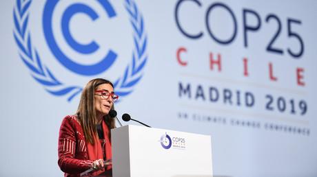 Carolina Schmidt, Vorsitzende der 25. UN-Klimakonferenz (COP25) und Umweltministerin von Chile, spricht vor dem Abschlussplenum der COP25 in Madrid, Spanien, 15. Dezember 2019.