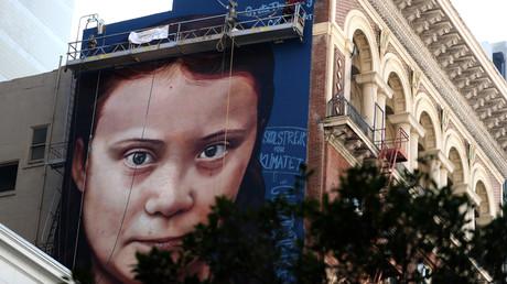 Viel größer als sie selbst: Das Abbild Thunbergs auf einer Hauswand in San Francisco im November 2019
