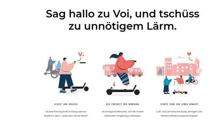 Wir sind die Guten: Selbstdarstellung des schwedischen Anbieters Voi