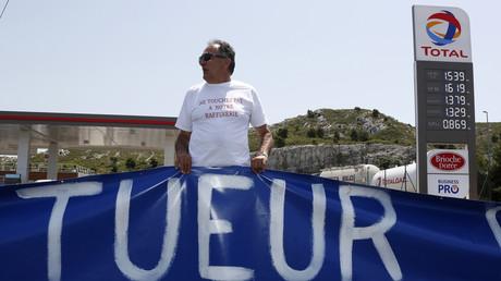 Streik der Gewerkschaft CGT bei Total, nahe Marseille, Frankreich, 2. Juli 2015.