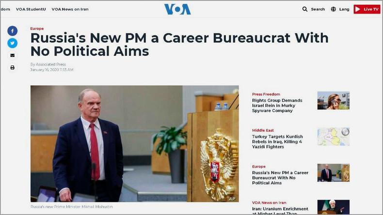 Völker, hört die Signale! Voice of America befördert Russlands Kommunistenchef zum Premier